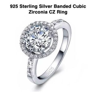 925 Sterling Silver Banded Cubic Zirconia CZ Ring